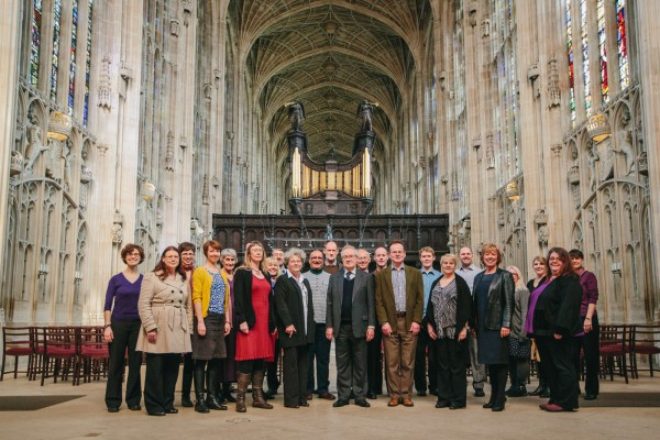 At Kings College Chapel after our training session with Choirmaster Stephen Cleobury (centre)