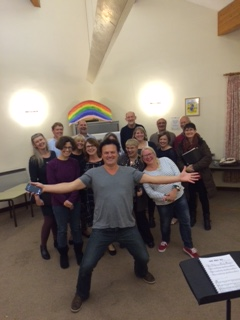 Rehearsal with Jem Sharples from Tenors Unlimited prior to the showat The Stables