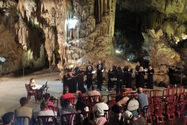Singing in the most perfect acoustic surrounded by amazing stalactites and stalagmites