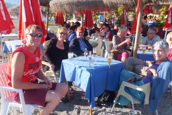 Relaxing on the beach at Salobrena after the concert in Nerja