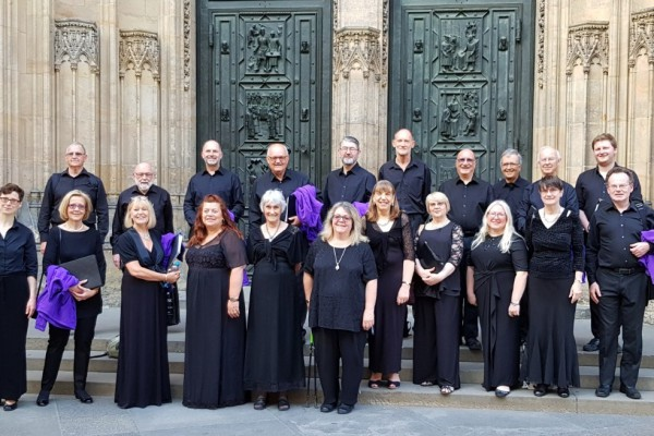 Outside Prague cathedral after our concert, 2018